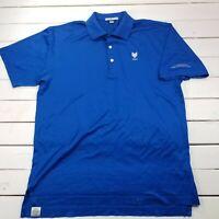 Peter Millar Golf Polo Shirt Mens Medium Blue Cotton Soft Short Sleeve P338