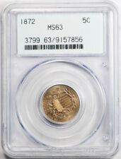 1872 5C Shield Nickel PCGS MS 63 Uncirculated OGH Old Style Holder