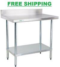 """24"""" x 36"""" Stainless Steel Work Prep Shelf Table Commercial 4"""" Backsplash Nsf"""