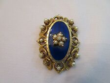 Vintage Florenza Pin Brooch Pendant Blue Enamel Faux Seed Pearls Ornate Goldtone