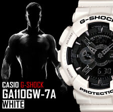 NEW CASIO G SHOCK G-SHOCK GA 110 GW 7A WHITE / BLACK XL DIAL RESIN BAND WATCH