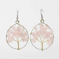 1 Round Pair of Rose Quartz Tree of Life Gemstone Chips Dangle Earrings #997