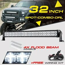 32inch 420W CREE LED Light Bar Spot DRL Flood Masks Offroad UTV For Polaris RZR