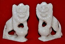 Vintage Pair of Hand Carved White Stone Foo Dog Figurines Shi Guardian Lion