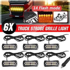 6x 24 LED Strobe Emergency Flashing Grille Light SUV Car Truck Beacon Lamp Amber