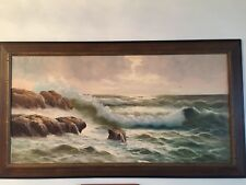 Vintage Bright painting oil on canvas  signed, Carpany, Wood  Framed 23x47.5 Inc
