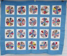 Vintage West Virginia Quilt-DRESDEN FLOWER-Multi-Color Prints On Blue-65x76