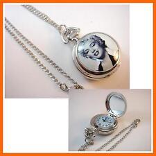 Marilyn Monroe Women Ladies Girl Men Boy Fashion Pocket Watch Necklace + CHARM