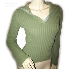 WET SEAL Knit V-Neck Turtleneck Sweater Tunic Womens Sweaters Green Long Sleeve