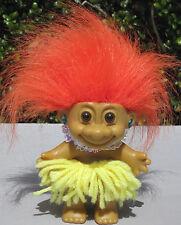 "Russ 4"" Hawaiian Hula Dancer Girl Troll Orange Hair Yellow Grass Skirt Vintage"