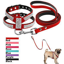Rhinestone Diamante Dog Vest Harness and Leash Soft Leather Pomeranian Yorkshire