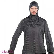 Mens Chain Mail Tunic & Hood Medieval Knight Game of Thrones Fancy Dress Costume