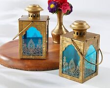10 Indian Jewel Lantern Table Centerpiece Antique Gold With Blue Glass Wedding