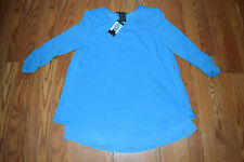 Womens Grace Elements Aqua Blue Rounded Neck Top Scrunch Sleeve Shirt L