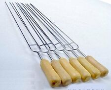 6 Sets 15 inch Stainless Steel Double Prongs Barbecue Shish Kebab Skewers with W