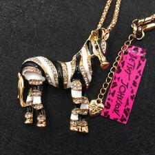 Betsey Johnson Gold Plated Black Enamel Rhinestone Zebra