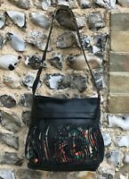 Fly London Shoulder Bag Black Leather Handbag Side Medium Zip Up Floral Pattern