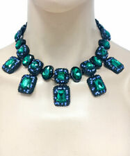 Forest Green Rhinestones Statement Chunky Necklace Earrings Urban Casual Chic