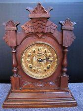 Antique Ansonia 8-Day Mantel Clock w/ Oak Case.