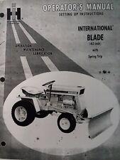International Ih Cub Cadet Lawn Garden Tractor 42 Blade Push Plow Owners Manual