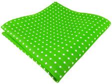 TigerTie Seideneinstecktuch in grün leuchtgrün silber weiß gepunktet, 100% Seide