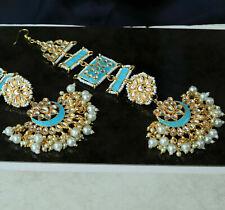 Pakistani Women Earring Chain Set Indian Bollywood Gold Tone Firozi Meenakari