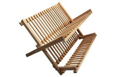 Kitchen Craft Wood Wooden Sink Top Foldable Dish Drainer Plate Cup Drying Rack