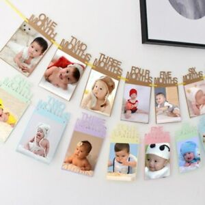 1 Set Baby Shower Decor Photo Frame Pull Flag Baby Growth Track Kraft Paper Baby