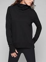 ATHLETA WOMEN'S BLACK LONG SLEEVE FUNNEL FLEECE SWEATSHIRT TOP Sz S