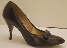 8 B vtg 50s/60s brown leather Naturalizer stiletto heels pumps shoes