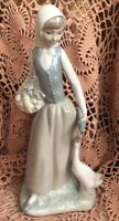 Lladro NAO Country Girl holding a Basket with a Goose Retired! Mint No Box L@@K!