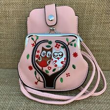 Pale Pink Owl Purse Small bag with Phone Spectacles  Holder Long & Short Straps