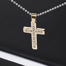 Men's Unisex Stainless Steel Pendant Necklace Gold Stone Zirconia Silver L53