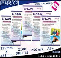 100 HOJAS PAPEL FOTOGRAFICO A3+ PLUS EPSON 329X 483 MM PREMIUM GLOSSY FOTO 250GR