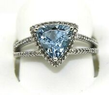 Trillion Aquamarine & Diamond Halo Solitaire Bridge Ring 14k White Gold 1.95Ct