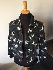 Topshop Moto Black Unicorn Denim Jacket Size 10 Immaculate Condition