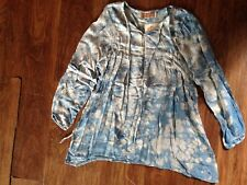 Hippie Chic Blue Gray Baby Doll Style Top Elastic Sleeve Flowy Thin Linen Cotton