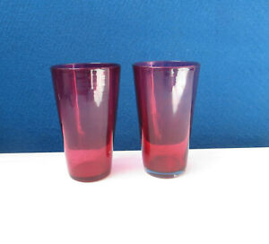 2 Victorian Cranberry Glass Beakers 9.8cm high - Drinking Glasses