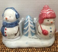 "st nicholas square LET IT SNOW Snowmen SALT & PEPPER SHAKERS Tray SET 4"" NIP"