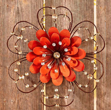Ornate Painted Floral Wall Hanging Beaded Front Porch Fence Decor Metal Orange