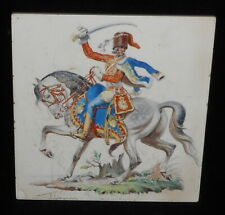 ORIGINAL GERMAN MEISSEN CERAMIC TILE OF A NAPOLEONIC HUSSAR. Circa.1890