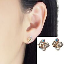 Swarovski Clip On Orange Star Rhinestone Crystal Pearl Invisible Stud Earrings