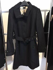 Burberry Woman's Gibbsmooresl Wool Blend Trench Coat. Black. Sz 08 US.New w/Tags
