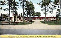 Jesup Georgia Hacienda Court Motel Linen 1940s Postcard BJ