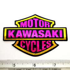 "Kawasaki Racing Bike Reflective Light Sticker 2.25x3.5"" Black&Pink"