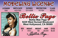 Bettie Page MODELING License Model Betty  plastic ID card Drivers License -