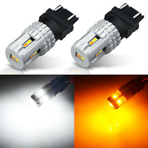 JDM ASTAR 62-SMD 3157 4157NA LED Switchback White Amber Turn Signal Light Dual