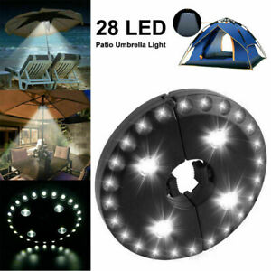28LED Patio Umbrella Parasol Light Outdoor Garden 3 Brightness Mode Camping Lamp