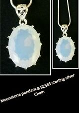 Rainbow Moonstone Gemstone 925 Sterling Silver Necklace Pendant & chain
