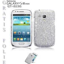 Diamant Strass Bling Schutz Hülle Case Samsung Galaxy S3 Mini I8200 Silber Folie